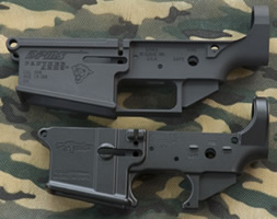 Side view of a DMPS LR-308 stripped lower receiver and a CMMG AR15 stripped lower receiver. BUY 308 AR LOWER RECEIVERS NOW