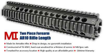 Midwest Industries - Armalite AR10 Drop In Rifle , Carbine Length Forearms
