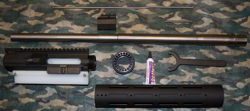A picture of all the parts required to build an AR-10, 308 AR upper receiver