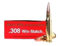 Black Hills Ammunition 308 Winchester 168 Grain Match Hollow Point Boat Tail