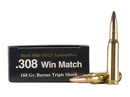 Black Hills Gold Ammunition 308 Winchester 168 Grain Barnes Triple-Shock X Bullets Hollow Point Flat Base Lead-Free