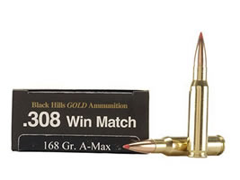 Black Hills Gold Ammunition 308 Winchester 168 Grain Hornady A-Max