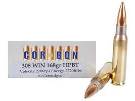 Cor-Bon Performance Match Ammunition 308 Winchester 168 Grain Sierra Hollow Point Boat Tail