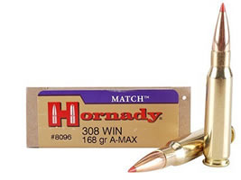 Hornady Match Ammunition 308 Winchester 168 Grain Hollow Point Boat Tail