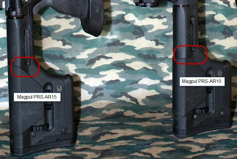 Difference between Magpul PRs AR15 and Magpul PRS AR10