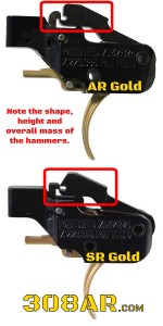 Can I use an AR-15 Trigger In an AR-10/308 AR. Picture comparing a Pact ATC AR Gold and Pact SR Gold