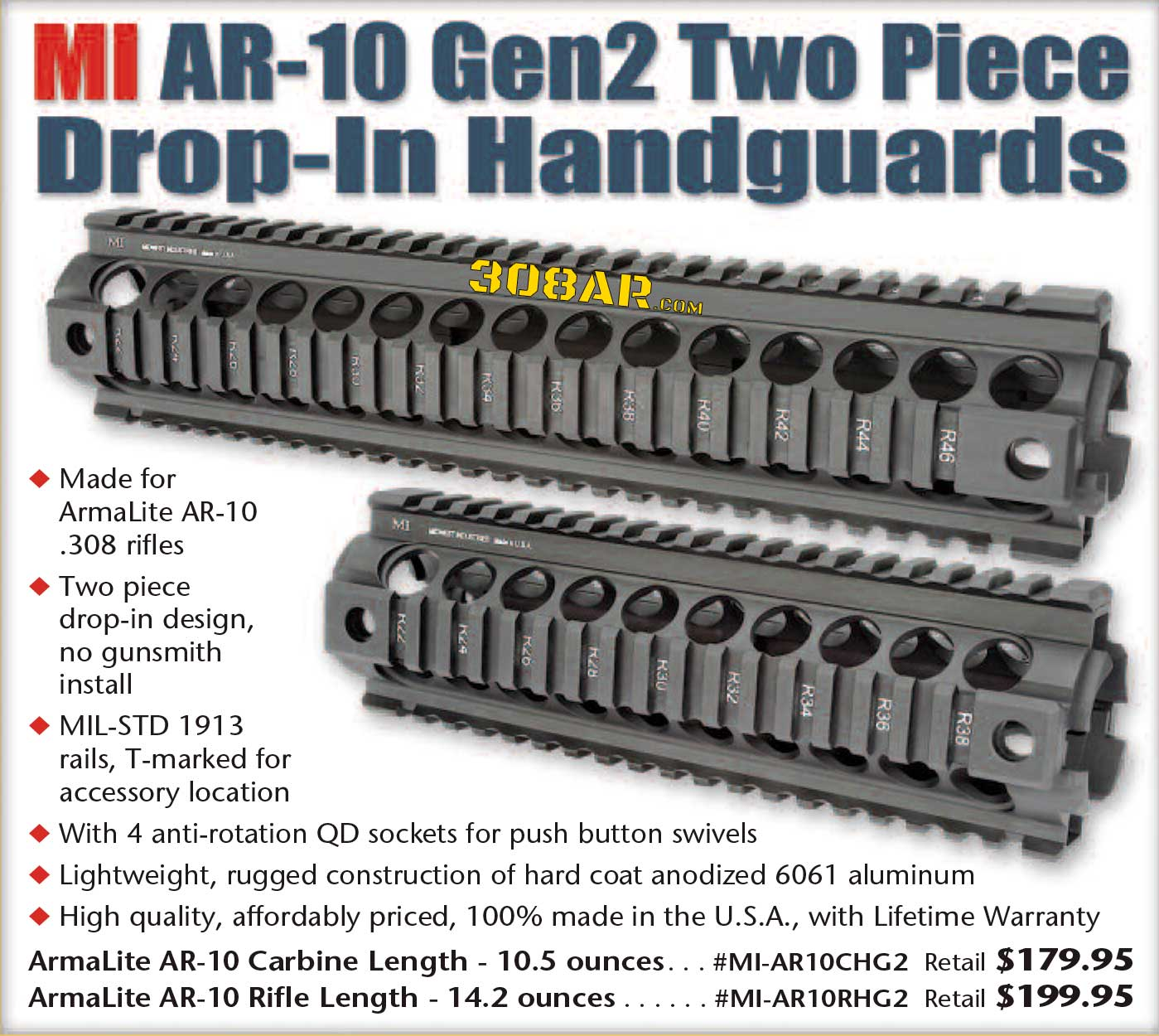 MIDWEST INDUSTRIES AR-10 GEN2 TWO PIECE HANDGUARD DROP-IN AR-10 A4 UPGRADE