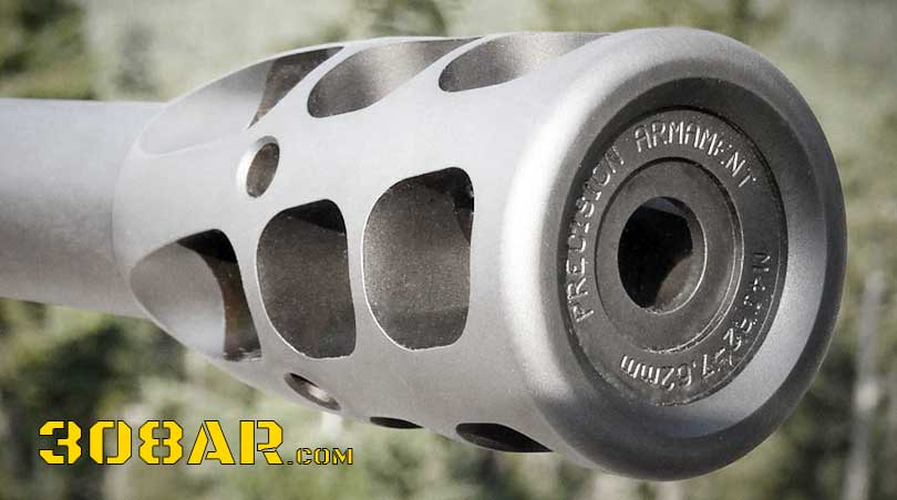Picture of a Precision Armament M41 AR 308 Muzzle Brake mounted on a 308 AR Rifle Barrel