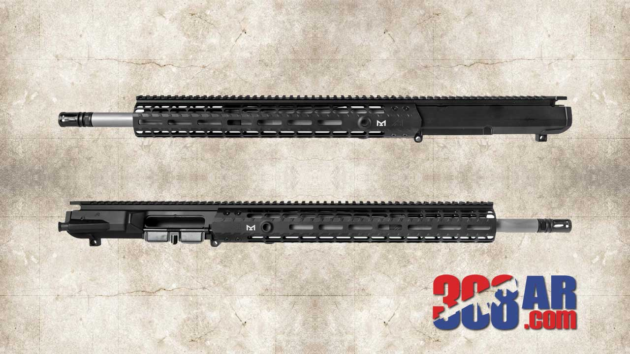 TWO SIDE VIEWS OF A AERO PRECISION M5E1 ASSEMBLED UPPER RECEIVER 6.5 CREEDMOOR BLACK