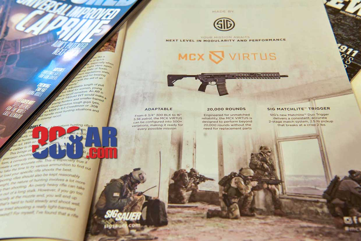 In this photo taken Thursday, Nov. 16, 2017, a magazine advertisement for an AR-style firearm describes the ability to customize the firearm and shows soldiers in combat. AR-platform firearms are often marketed using words that emphasizes the firearm's ability to be customized and evoke a sense of patriotism, freedom and military strength.