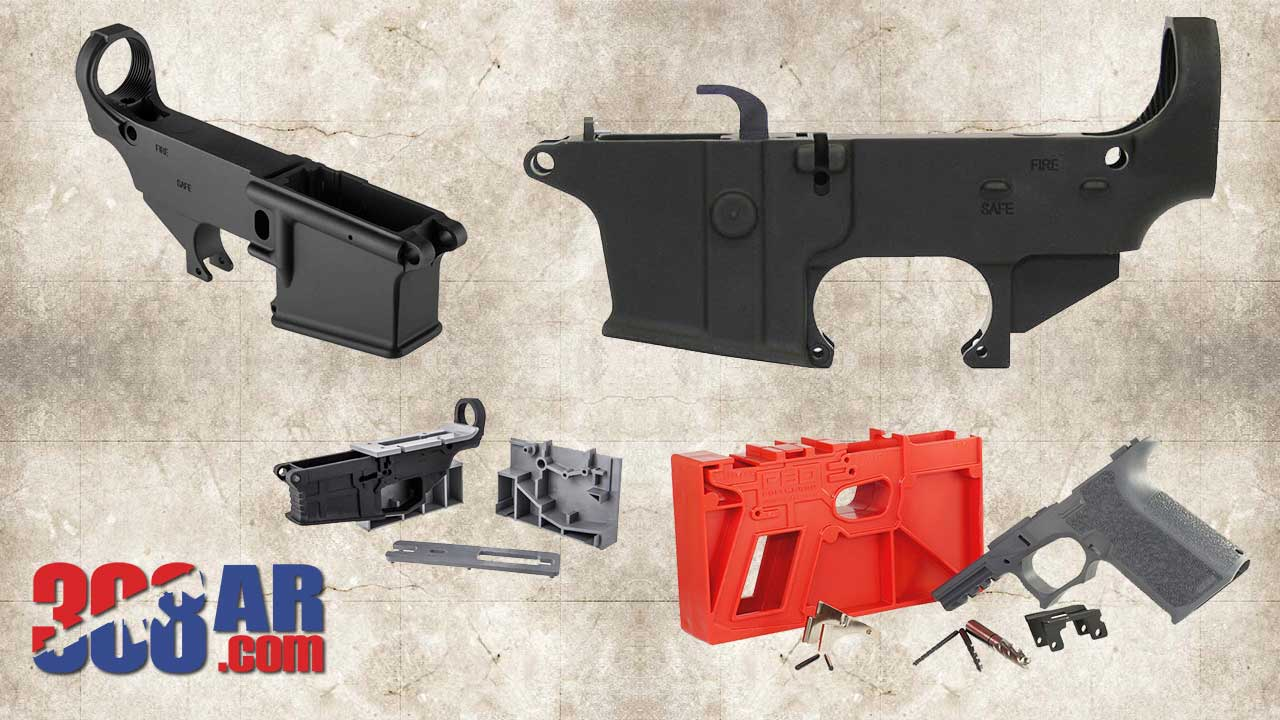 """Pictured above an 80 Percent Glock Frame, 80 Percent AR15, 80 Percent 308 AR and 80 Percent AR9 Lower Receiver. All considered the basis of """"Ghost Guns"""""""