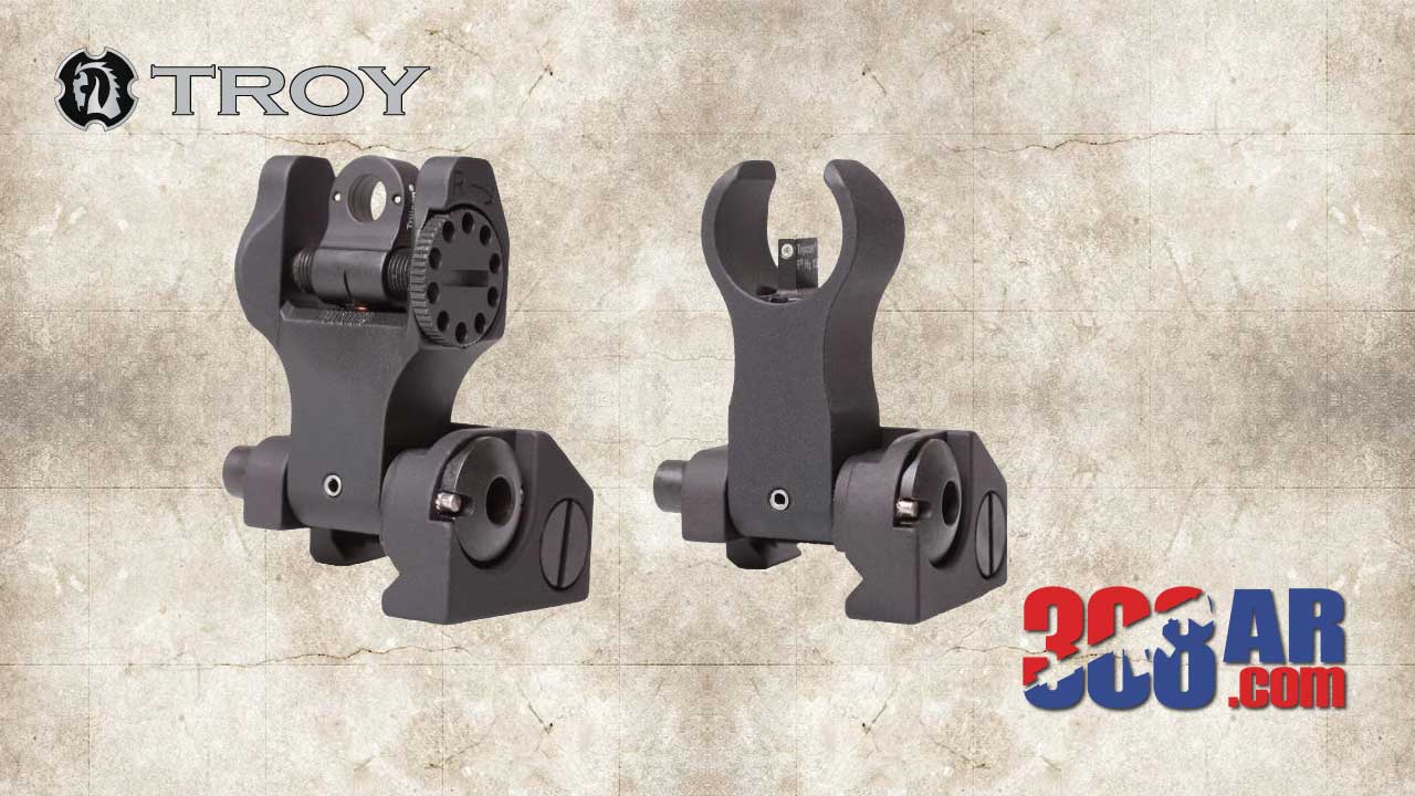 Troy Industries Folding Front Sight, HK Folding Rear Sight, Tritium